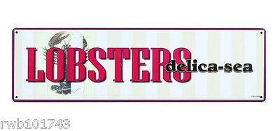 Lobsters Delica-Sea Tin Metal Sign seaside diner nautical seafood home bar decor