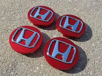 """Honda Center Caps Red Set 4 Cap 2.75"""" 69mm wheel rim insert cover Civic Accord"""