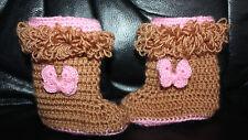Wolle Baby Stiefel mit gehäkelt 3D Schmetterling, Neu, Handarbeit, Gr.1,5-2 Jahr