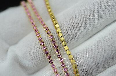 1 Meter ss6 colour rhinestone close trim chain silver/golden