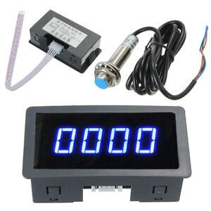 4-Digital LED Blue Tachometer RPM Speed Meter+Hall Proximity Switch Sensor NPN #