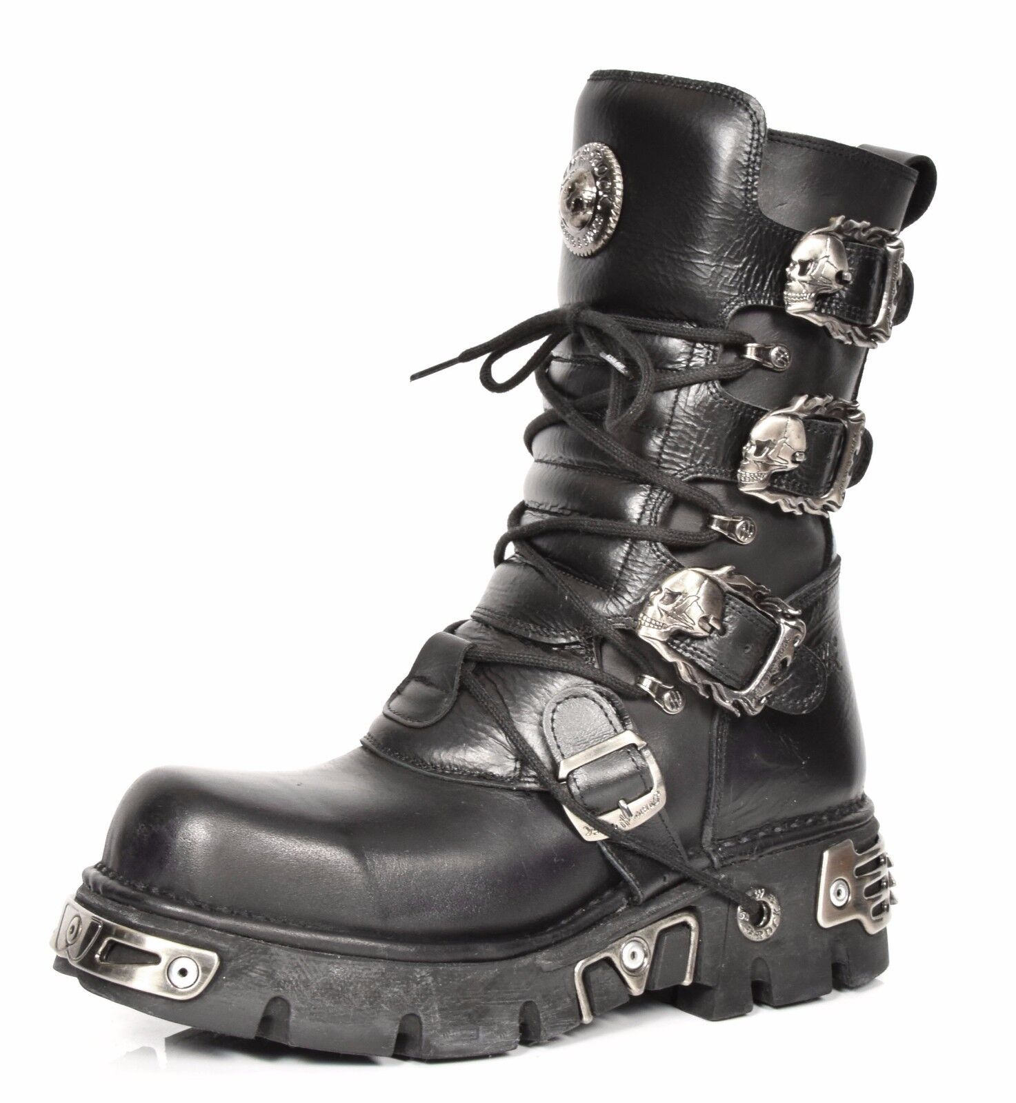 Real Leather Retro Boots Latest New Rock Skull Buckle Design Black Gothic Boots
