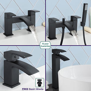 Arke-Bathroom-Black-Matt-Sink-Basin-Mono-Mixer-Bath-Filler-Shower-Brass-Tap