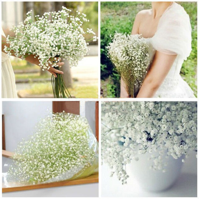6/12pcs White Baby Breath Artificial Silk Flowers Wedding Party Home Bar Decor