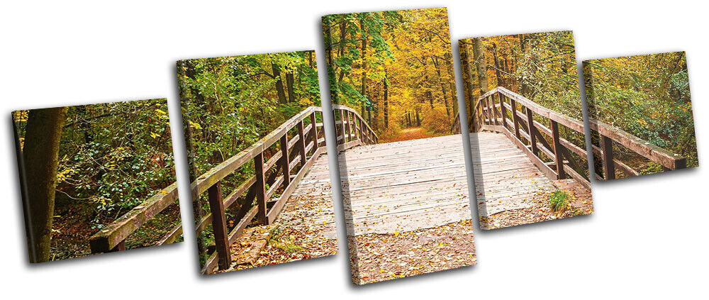 Wooden Forest Bridge Autumn Landscapes MULTI Leinwand Kunst Bild drucken