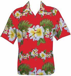 Hawaiian-Shirt-Mens-Hibiscus-Floral-Print-Aloha-Party-Beach-Camp-Holiday