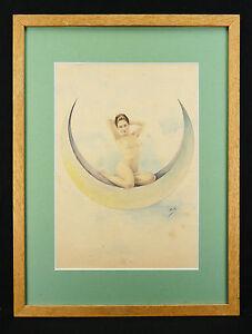 Junges-Nackte-Frau-auf-ein-Croissant-De-Lune-Monogramm-R-k-Hautfarben-Nacht