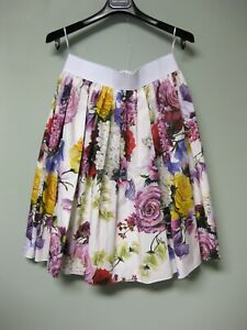 745-Dolce-amp-Gabbana-AUTH-NEW-Mixed-Floral-Poplin-Elastic-Band-Flared-Skirt-44