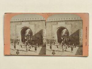 Tunisi-La-Porta-Da-La-Marina-Tunisia-Foto-Stereo-Vintage-Albumina