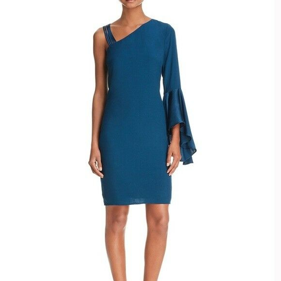 320 NIC and ZOE Womens blueE One-Shoulder ASYMMETRICAL BELL-SLEEVE DRESS SIZE 8