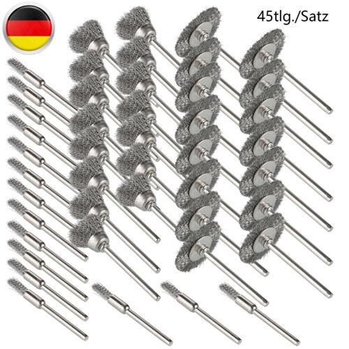 45 Tlg.Set Edelstahl Drahtbürste Bürste Ø5//15//25mm Für Schleifer Zubehör NEU