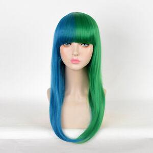 Punkjazz-Reggae-Style-Wig-Long-Half-Green-Blue-blunt-bangs-Cute-Hair-Wigs