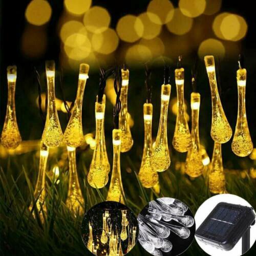50 LED Raindrop Teardrop Solar Powered String Fairy Lights Outdoor Garden Party