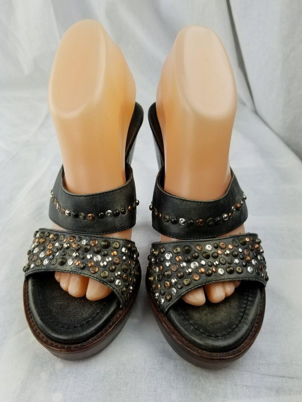 frye black brown studded high heel platform 9B leather womans bronze vintage joy leather 9B 2213d1