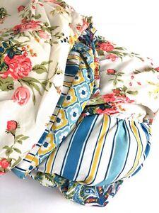King Duvet Cover Shams Floral Reversible Stripe Ruched