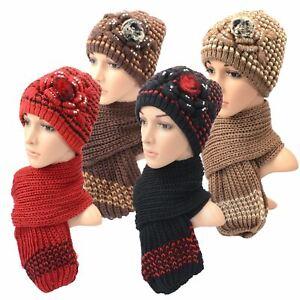 Ladies-Knitted-Flower-Beanie-amp-Scarf-Set-Girls-Soft-Warm-Winter-Fashion-Hat-Lot