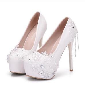 Women Rhinestone Beads High Stiletto Heel Shoe Wedding Party Club Platform Pearl