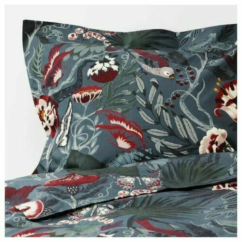 IKEA FILODENDRON Duvet Cover DARK blueE FLORAL BIRD TWIN QUEEN KING NEW FREESH