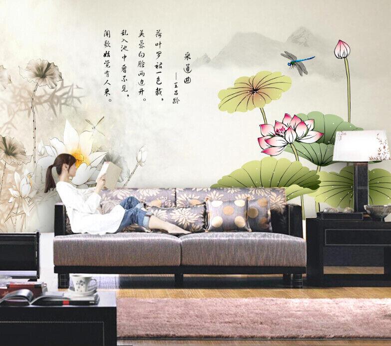 3D Libelle Lotus 845 Tapete Wandgemälde Tapete Tapeten Bild Familie DE Summer
