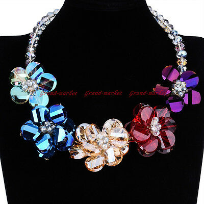 Fashion Jewelry Chain Multi-Color Glass Crystal  Statement Pendant Bib Necklace