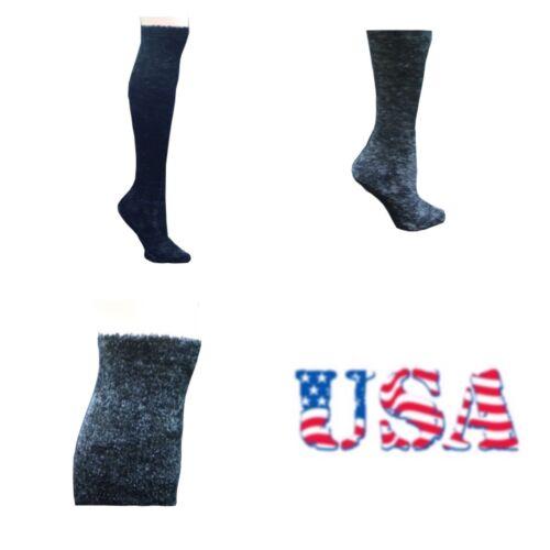 Women Over The Knee High  Puffy Socks Warm Plush Thick Heavy Ski Snow 9-11 Black