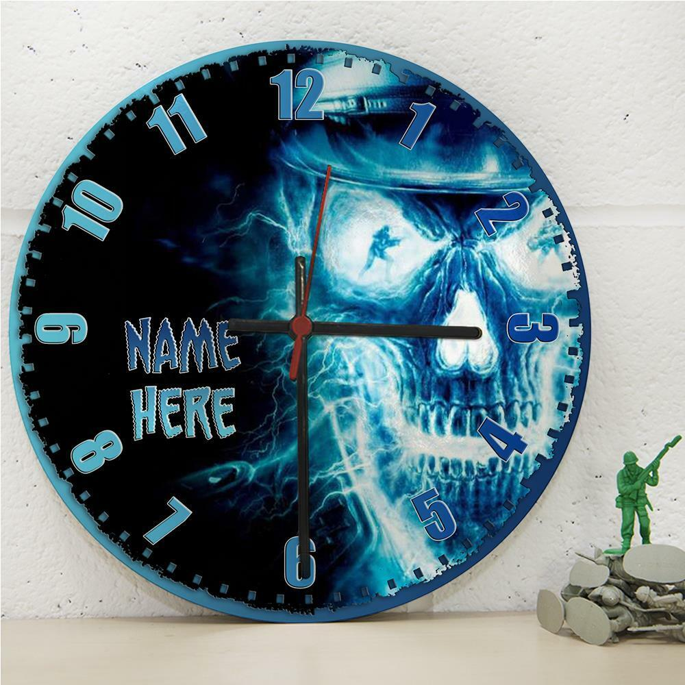 Personalised Skull Gamer Soldier Duty Hanging Wall Kitchen Clock ...