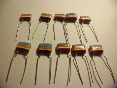 10 X Tropical Vintage Capacitors 250V 68nF = 0.068uF .condensateur.