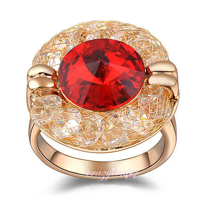 Fashion Wire Mesh ruby red CZ crystal cocktail ring rose gold GP women gift R80