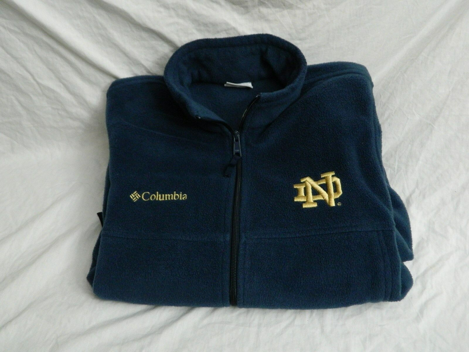 Columbia Notre Dame Full Fleece Zip Up Navy Mens Size Small S Casual FREE S&H