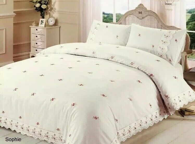 Rapport Sophie Embroidered pinks Lace Trim King Duvet Set CHEAPEST ON EBAY