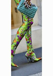 BALENCIAGA KNIFE Green Floral Sock