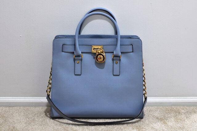 8876411b339b Michael Kors Hamilton Large Tote Pale Blue Leather Hand Bag Satchel  30s2ghmt3l