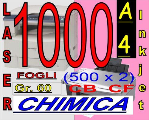1000 FOGLI CARTA CHIMICA RICEV FISCALI X STAMPANTI LASER INKJET A4 BIANCO  ROSA