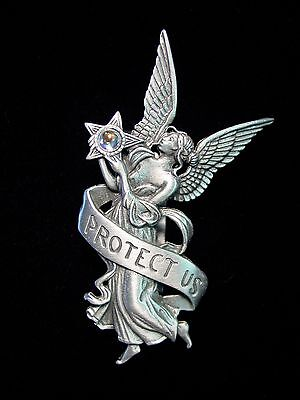 """JJ"" Jonette Jewelry Silver Pewter Car Visor Clip 'Protect Us' ANGEL"