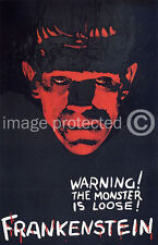 Frankenstein Vintage Horror Movie Poster  18x24 Black/Red Monster is Loose!