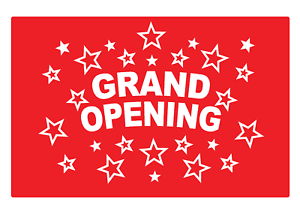 Info Sign Self Adhesive Vinyl Waterproof Removable Sticker 2 x  Grand Opening