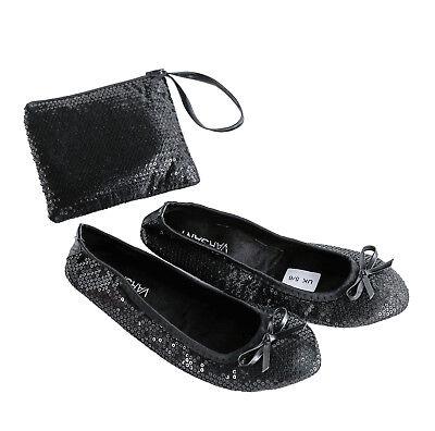 Sequin satén Roll Up Zapatos plegar Flats Zapato De Ballet Damas después de la fiesta con bolsa