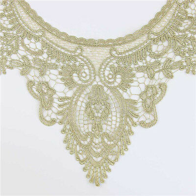 1x Embroidery Gold Neckline Collar Craft Lace Trim Bridal Dress Sewing Applique