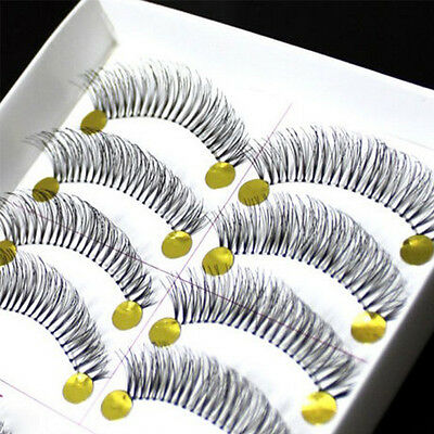 10Pairs Natural Thick Long False Eyelashes Fake Eye Lashes Voluminous Makeup CB
