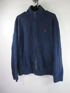 Polo-Ralph-Lauren-mens-solid-navy-red-pony-sweater-jacket-L-EUC