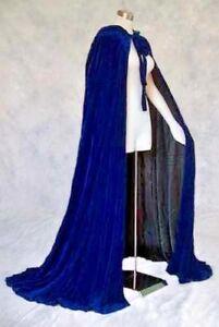 Blue-Cape-Hooded-Velvet-Cloak-Lined-Overcoat-Fashion-Role-Plat-Wicca-Fantasy-50-034