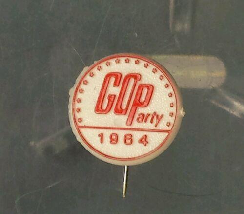 "1964 GOP Republican Party 58"" Plastic Red White Convention Pin Pinback Button"