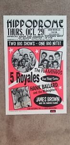 JAMES-BROWN-HANK-BALLARD-THE-FLAMINGOS-AUTOGRAPHED-BOXING-STYLE-CONCERT-POSTER