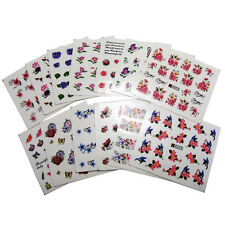 50 Sheets Flower Tattoo Water Transfer Stempel Nail Art Tips Stickers Decals