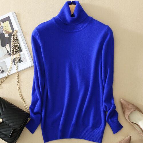 Women/'s`Slim Knitted Turtleneck Cashmere Jumper PulloverElasticity cozySweaterSE