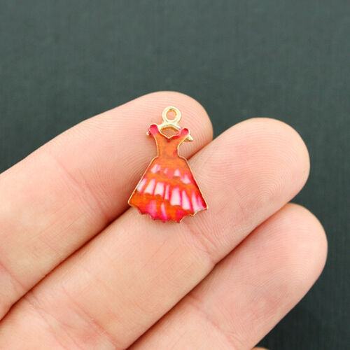 4 Red Dress Charms Gold Tone Enamel Flamenco Dance Fashion Charm E728