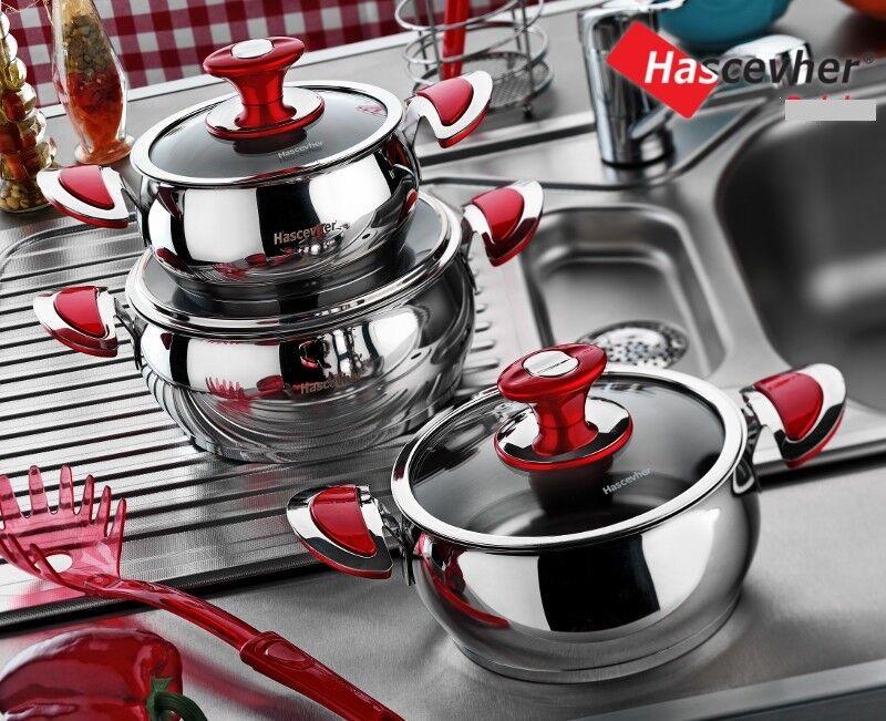 3 Sets Grand Design en Acier Inoxydable Pots de haute qualité