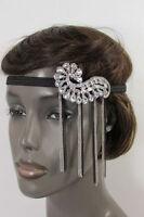 Women Elastic Band Silver Black Metal Side Head Chain Fashion Jewelry Shell