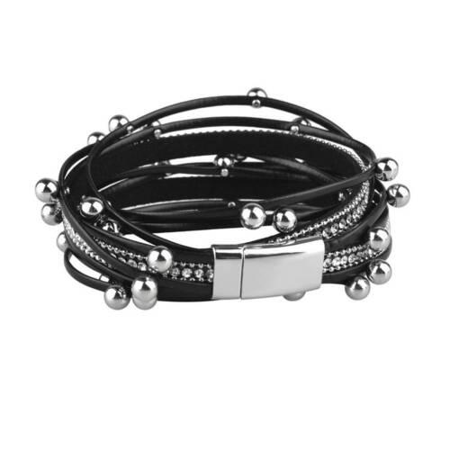 Femmes multicouche en cuir PU Aimant Boucle Wrap Bracelet Breloque Bijoux