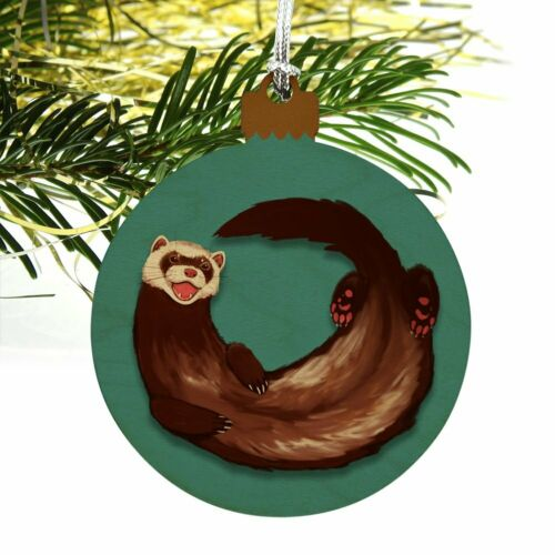 Happy Ferret Wood Christmas Tree Holiday Ornament